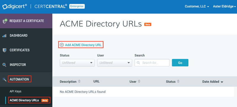 ACME Directory URLs page
