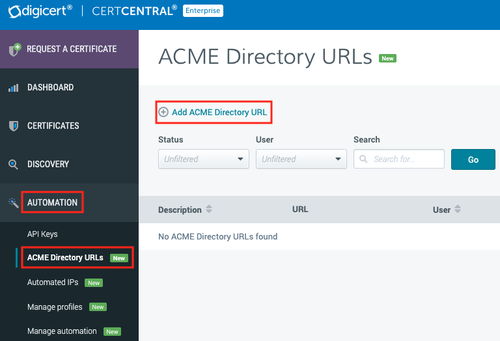 ACME Dirrector URLs page in CertCentral