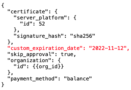 Code signing custom expiration date parameter