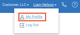 "my profile option in ""your name"" drop-down list"