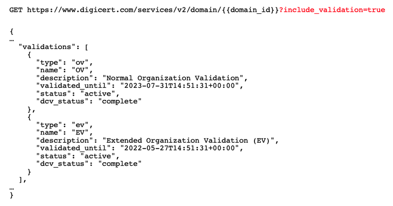 Example validations array in domain info response data