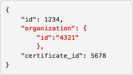 Example response with new organization ID parameter