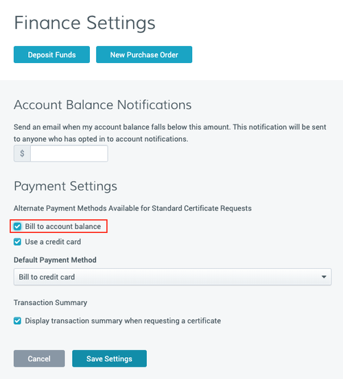 CertCentral Finance Settings page